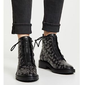 Rag & bone cannon zip ankle black leather boots